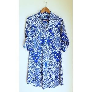 CAbi Blue and Tan Dress size XS